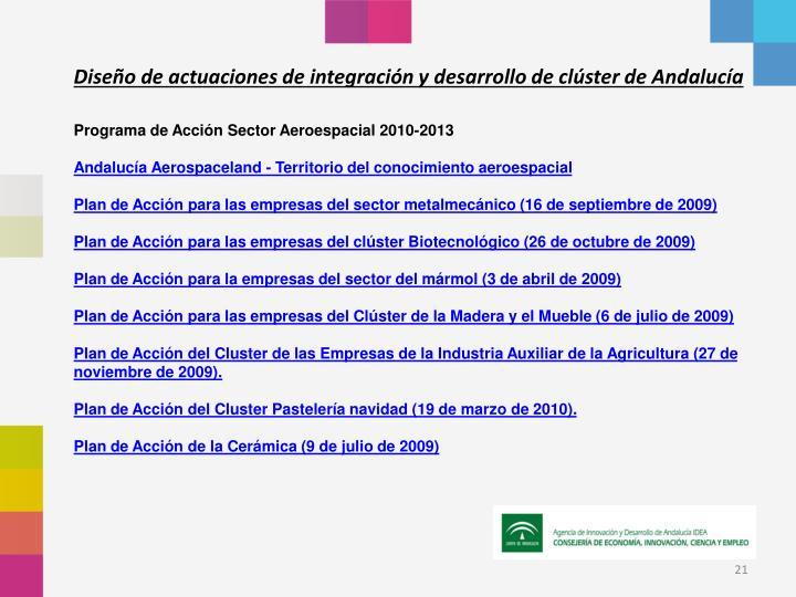 Diseño de actuaciones de integración y desarrollo de clúster de Andalucía