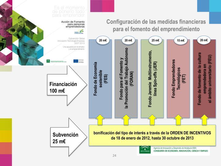 Configuración de las medidas financieras para el fomento del emprendimiento