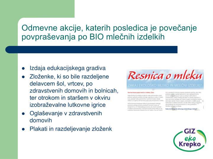 Odmevne akcije, katerih posledica je povečanje povpraševanja po BIO mlečnih izdelkih