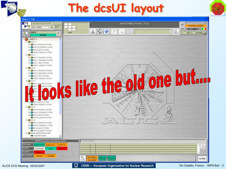 The dcsUI layout