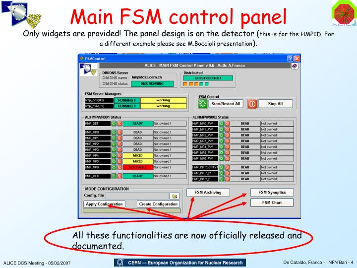 Main FSM control panel