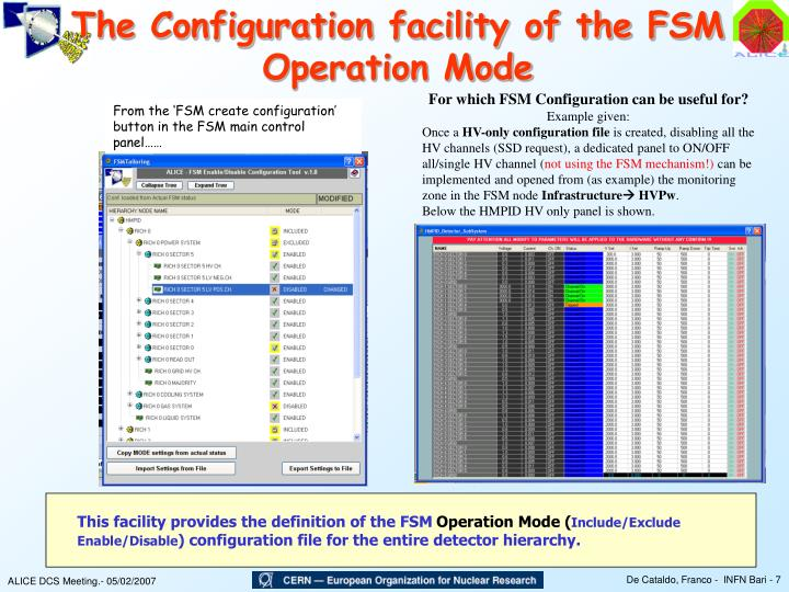 The Configuration facility of the FSM Operation Mode