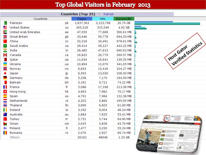 Top Global Visitors in February  2013