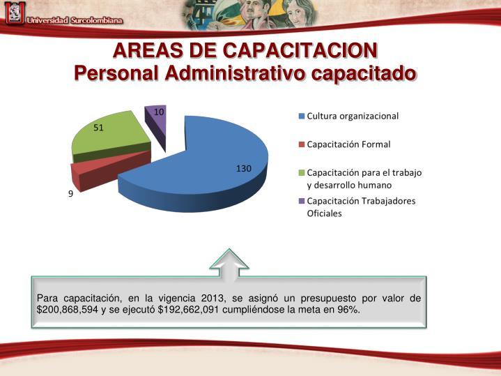 AREAS DE CAPACITACION