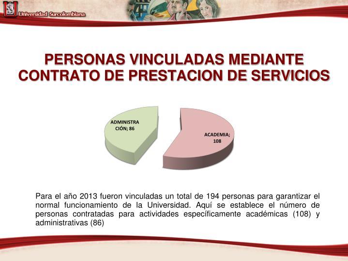 PERSONAS VINCULADAS MEDIANTE CONTRATO DE PRESTACION DE SERVICIOS