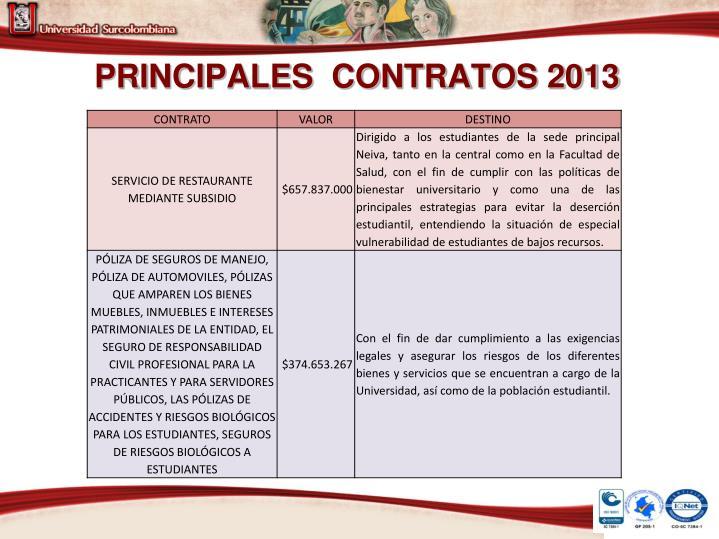 PRINCIPALES  CONTRATOS 2013