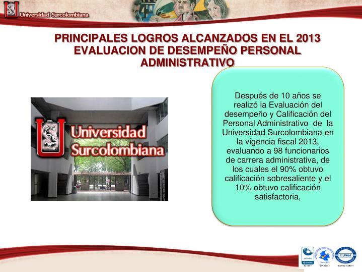 PRINCIPALES LOGROS ALCANZADOS EN EL 2013