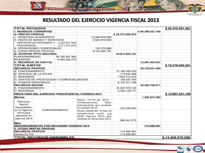 RESULTADO DEL EJERCICIO VIGENCIA FISCAL 2013