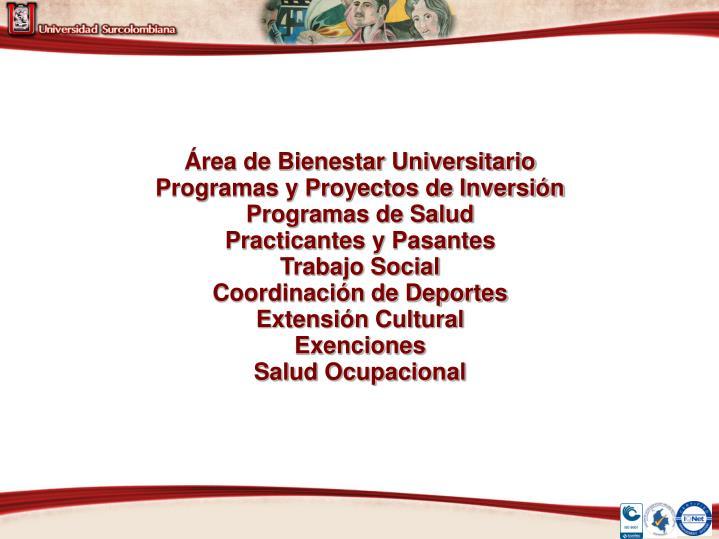 Área de Bienestar Universitario