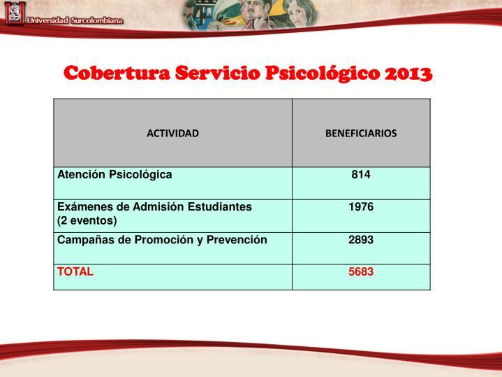 Cobertura Servicio Psicológico 2013