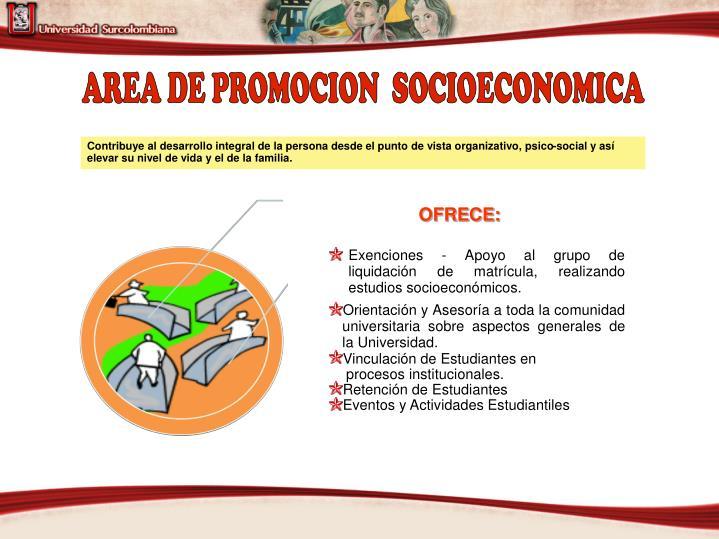 AREA DE PROMOCION  SOCIOECONOMICA