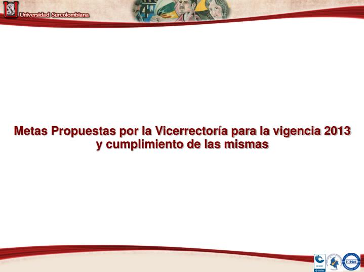 Metas Propuestas por la Vicerrectoría para la vigencia 2013 y cumplimiento de las mismas