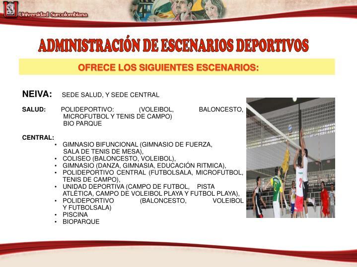 ADMINISTRACIÓN DE ESCENARIOS DEPORTIVOS