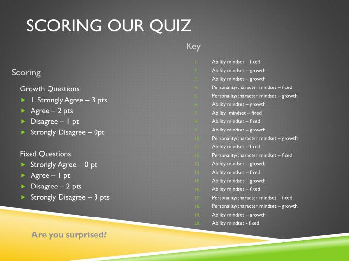 Scoring our Quiz