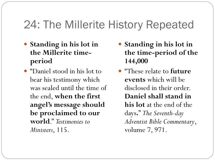 24: The Millerite History Repeated