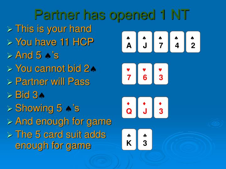 Partner has opened 1 NT