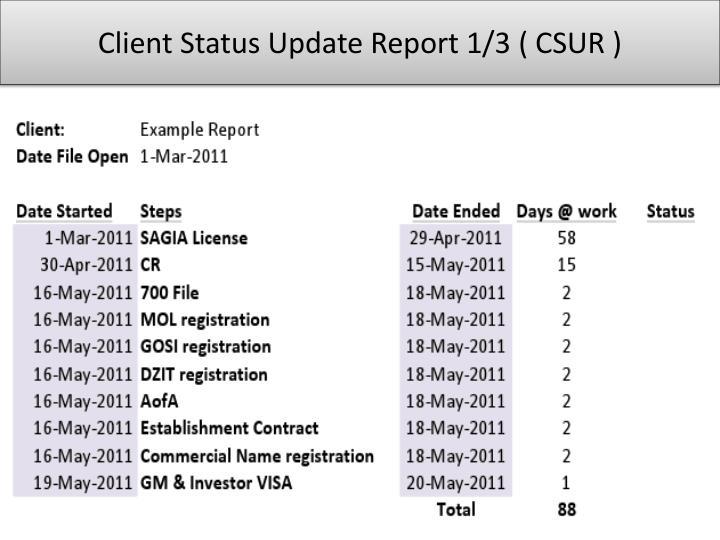 Client Status Update Report 1/3 ( CSUR )