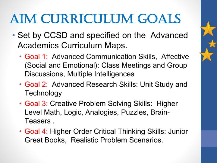 AIM Curriculum Goals