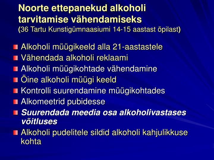 Noorte ettepanekud alkoholi tarvitamise vähendamiseks