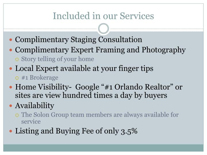 Included in our Services