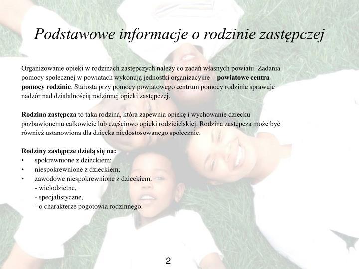 Podstawowe informacje o rodzinie zastępczej