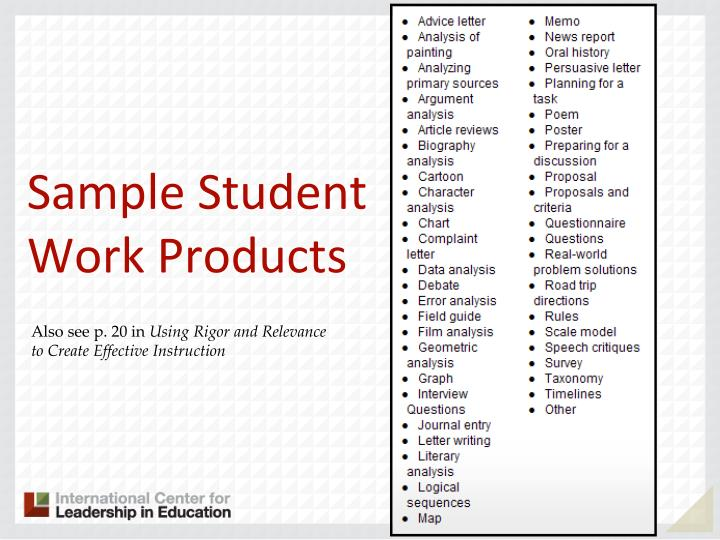 Sample Student Work Products