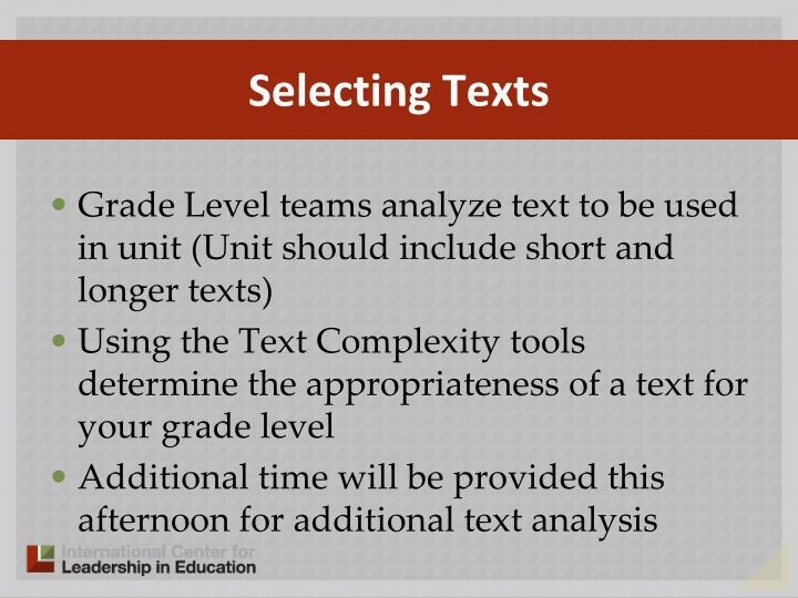 Selecting Texts