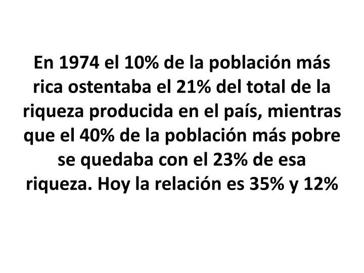 En 1974 el 10% de la población más rica ostentaba el 21% del total de la riqueza producida en el país, mientras que el 40% de la población más pobre se quedaba con el 23% de esa riqueza. Hoy la relación es 35% y 12%