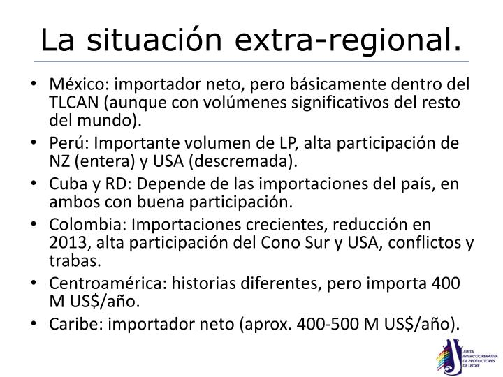 La situación extra-regional.