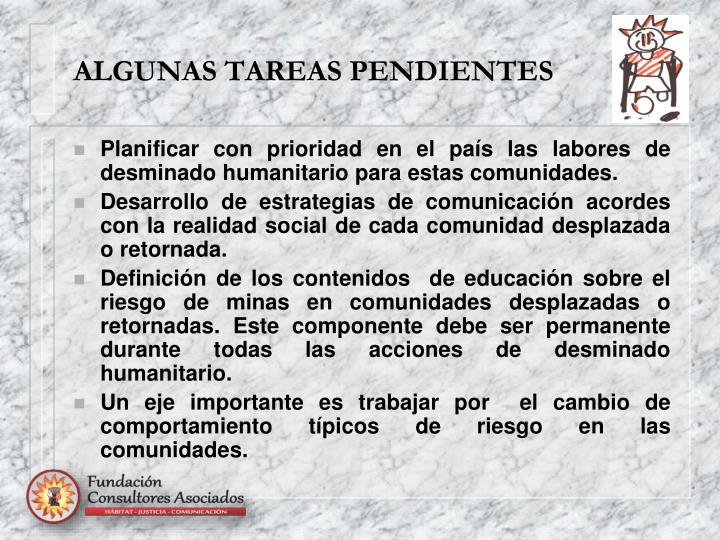 ALGUNAS TAREAS PENDIENTES