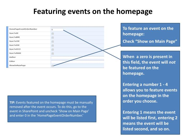 Featuring events on the homepage
