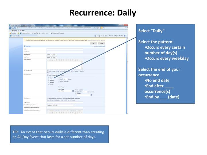 Recurrence: Daily