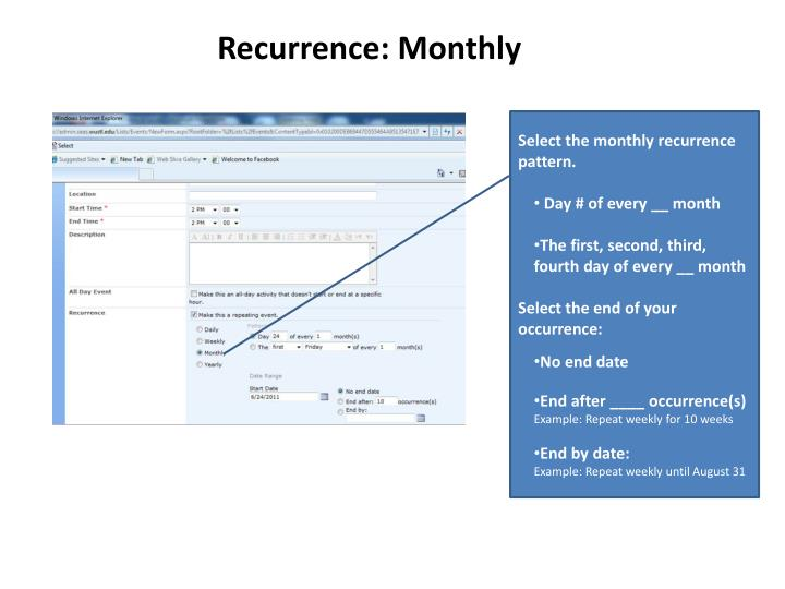 Recurrence: Monthly