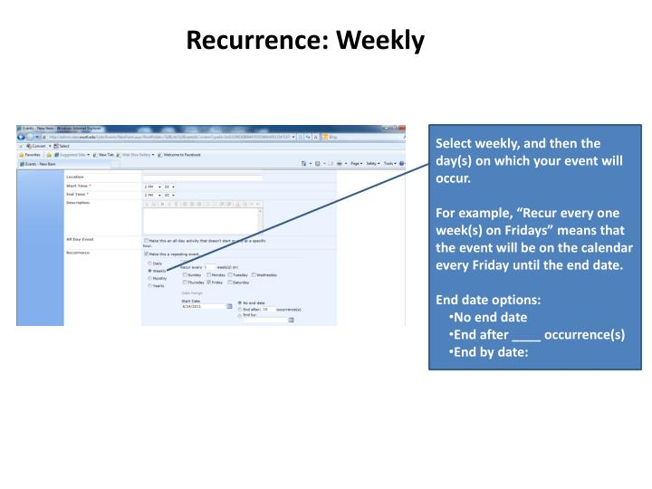 Recurrence: Weekly