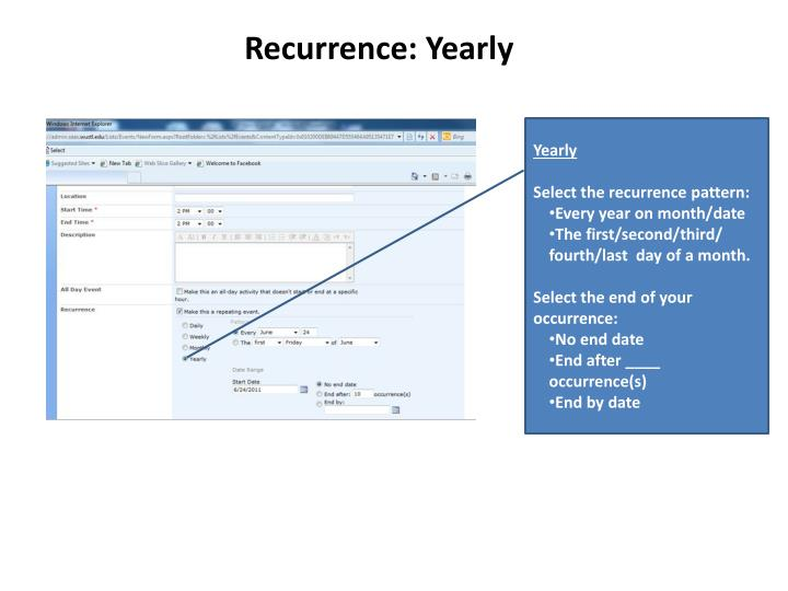 Recurrence: Yearly