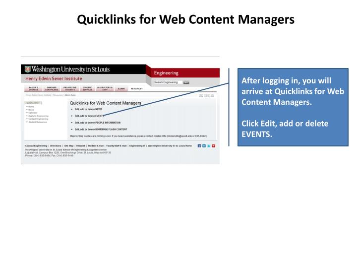 Quicklinks for Web Content Managers