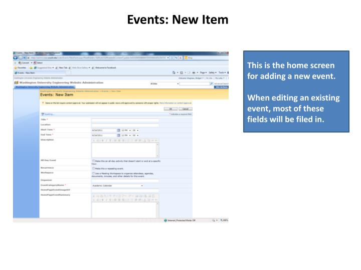 Events: New Item