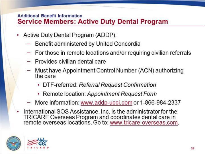 Service members: Active Duty Dental Program