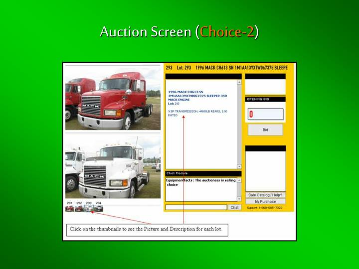 Auction Screen (