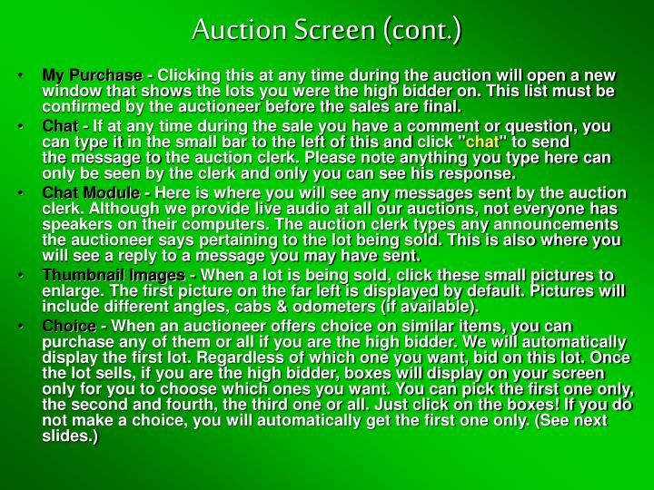 Auction Screen (cont.)
