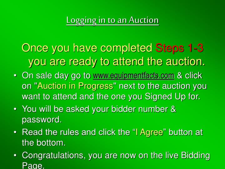 Logging in to an Auction
