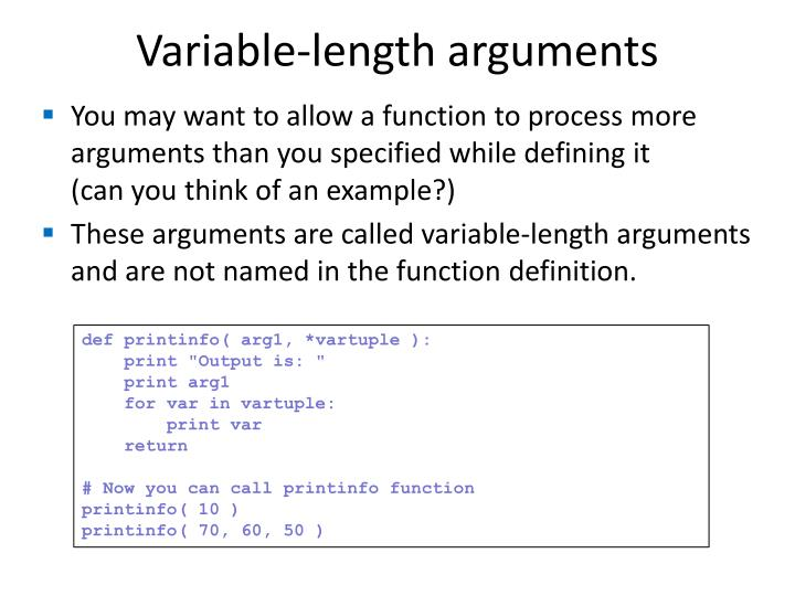 Variable-length arguments