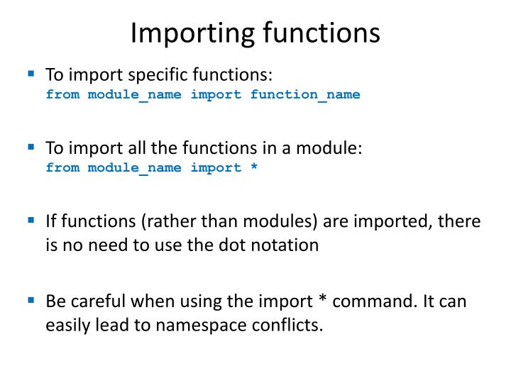 Importing functions