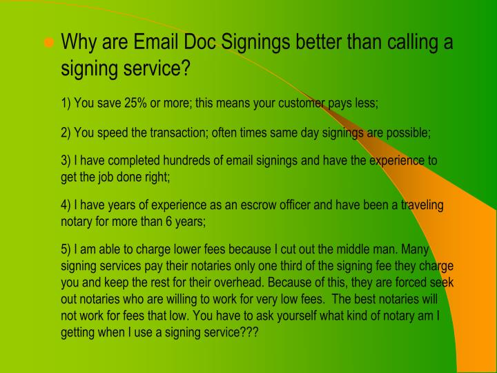 Why are Email Doc Signings better than calling a signing service?