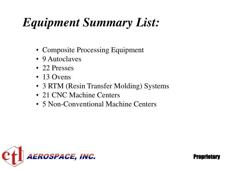 Equipment Summary List: