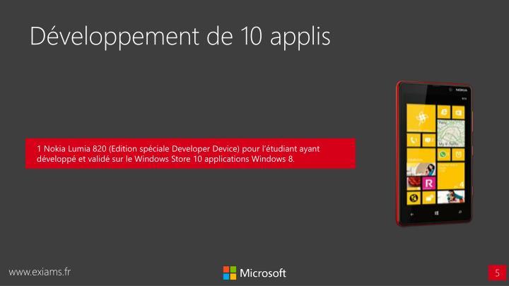 Développement de 10 applis