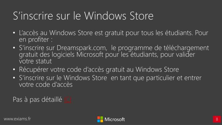 S'inscrire sur le Windows Store