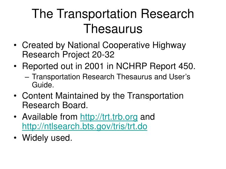 The Transportation Research Thesaurus