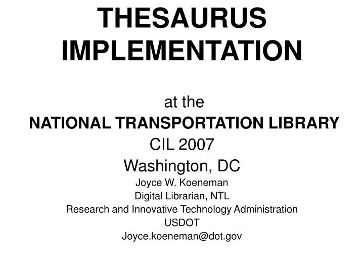 Thesaurus implementation