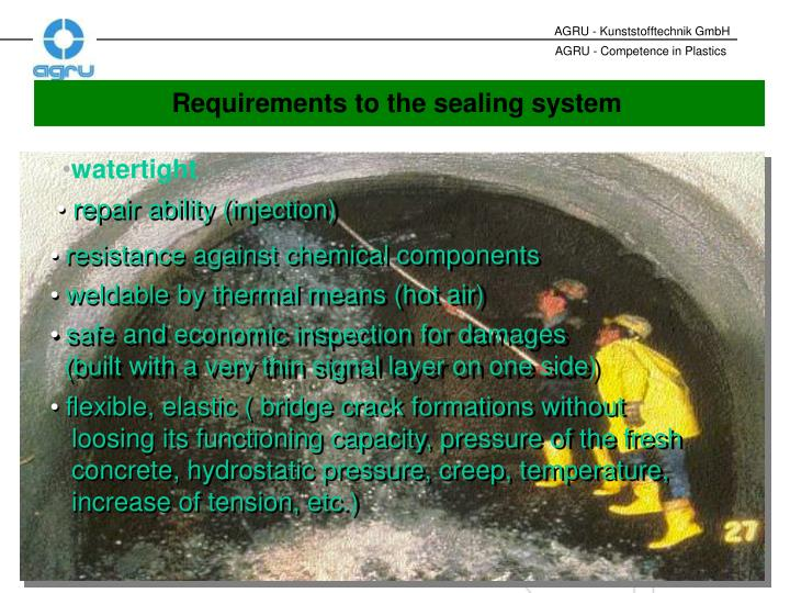 Requirements to the sealing system